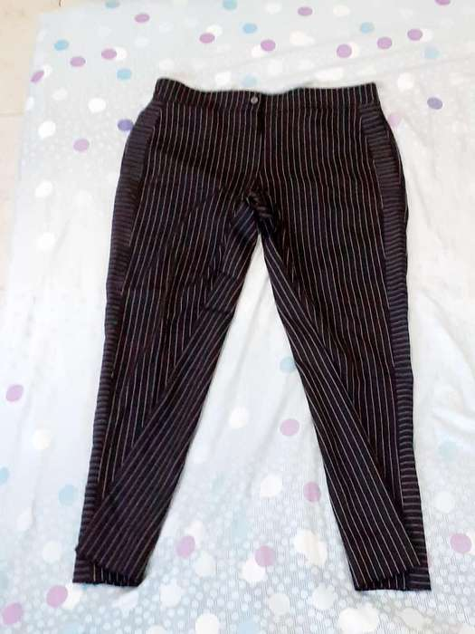 Pantalon con Rayas Negro Talla 16
