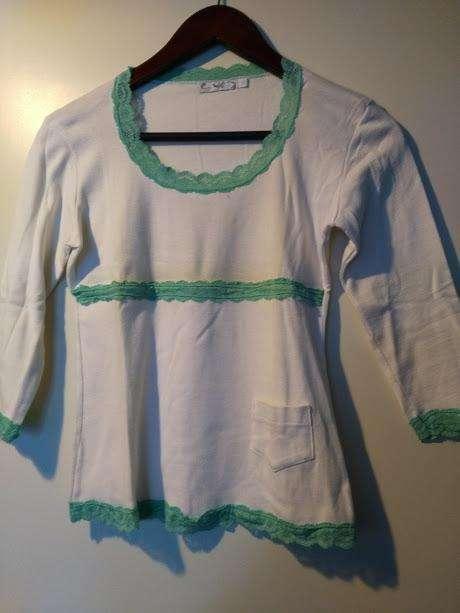 Remera Mujer Algodon Blanca Puntillas Verde Mangas 3/4 Nox