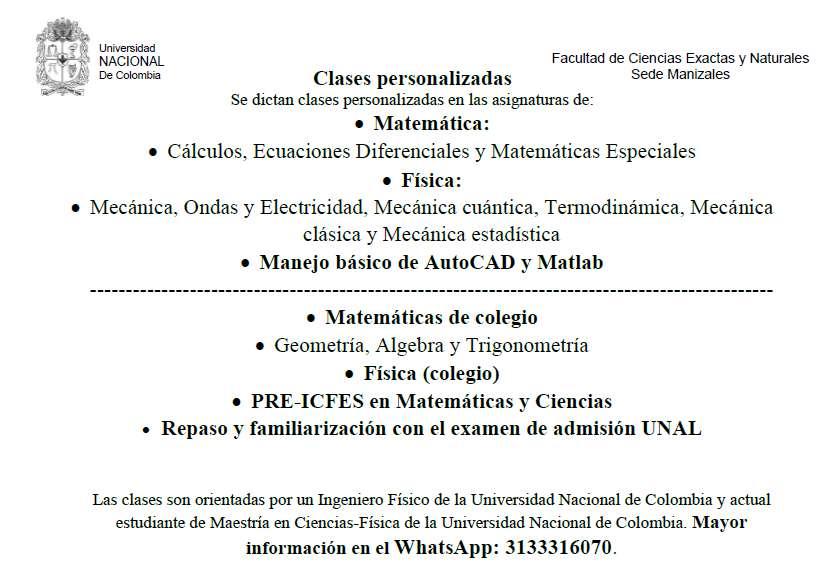 Clases en ciencias básicas y preparación pre-ICFES: física y matemática.