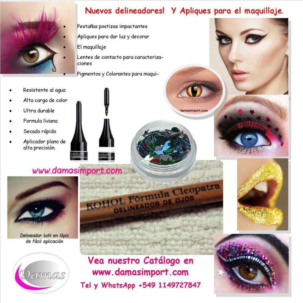 Venta de maquillajes artísticos para adultos y niños. delineadores, glitter, strass, pinceles
