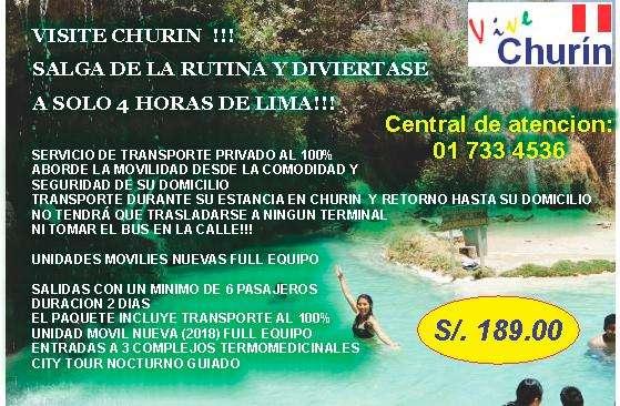 TRANSPORTE PAQUETES TURISTICOS A CHURIN PRECIOS ACCESIBLES SALGA DE LA RUTINA VIAJE A CHURIN!!!