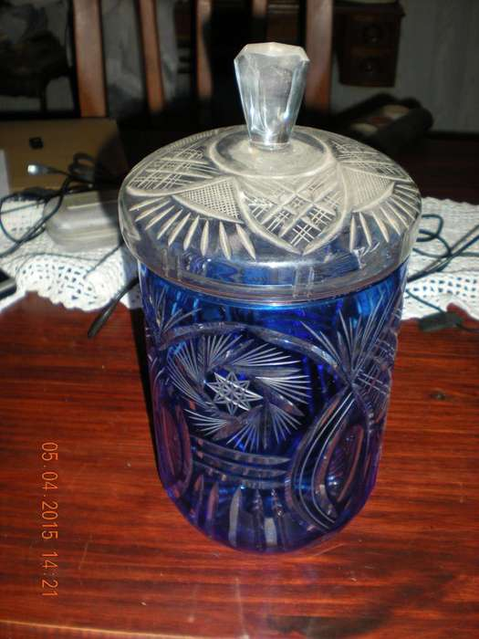 Jarron De Cristal Azul Con Tapa