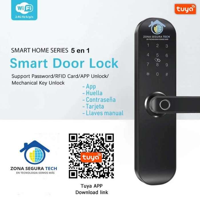 Cerradura de Seguridad Inteligente TUYA Smart E202 WIFI 5 en 1 App, huella, contraseña, tarjeta, llaves manual