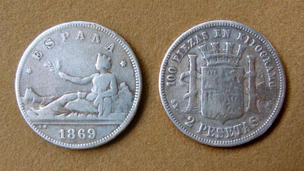 Moneda de 2 pesetas de plata, España 1869(69)
