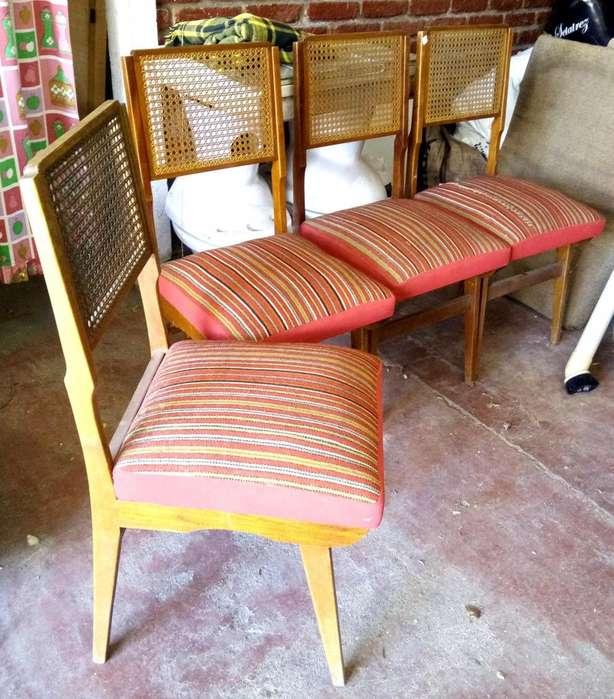 Excelentes 4 <strong>silla</strong>s diseño retro escandinavo vintage esterilla impecables