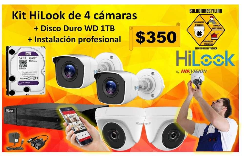 Kit De 4 Camaras Hilook Dd1tb Instalacion Profesional