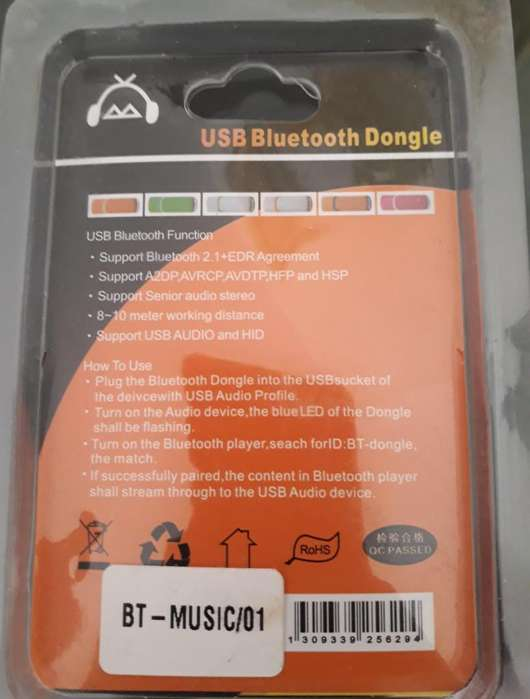 USB Bluetooth Dongle (convertidor USB a Bluetooth).