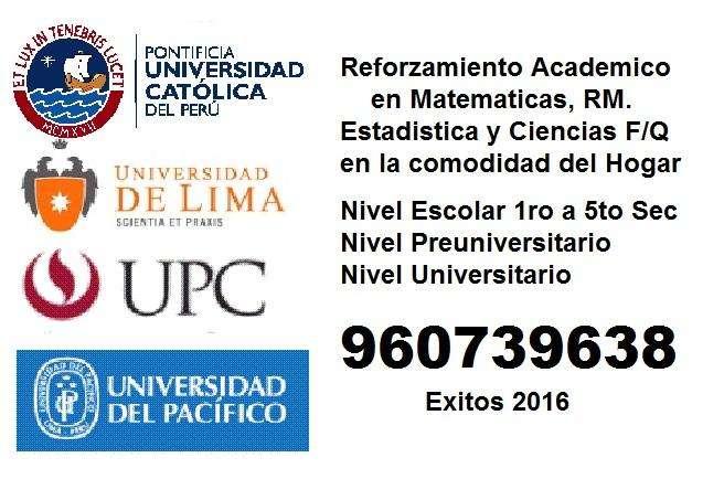 Mejoramiento Académico ESCOLAR/ Ingreso PREUNIVERSITARIOS / Asesoramiento UNIVERSITARIOS MATEMATICA ESTADISTICA CIENCIA
