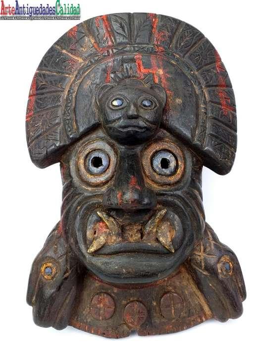 Mascara Inca De Madera,con Puma, Antigüedades, Réplicas Prec