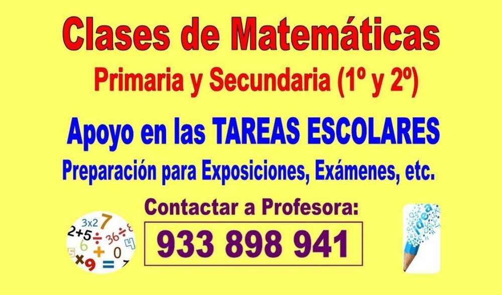 PROFESORA: CLASES DE MATEMÁTICAS PARA ESCOLARES: Primaria y Secundaria (1 y 2 Año)