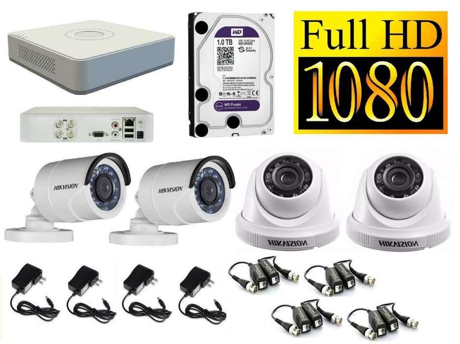 CAMARAS DE SEGURIDAD 4 FULLHD 1080p CCTV HIKVISION