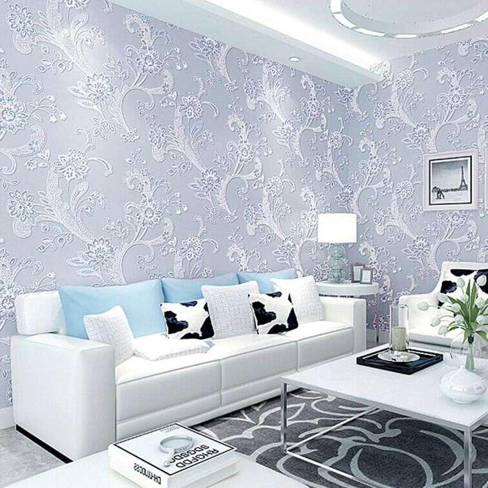 Papel Tapiz De Colgadura Lingjun Textura 3d Flores Azul