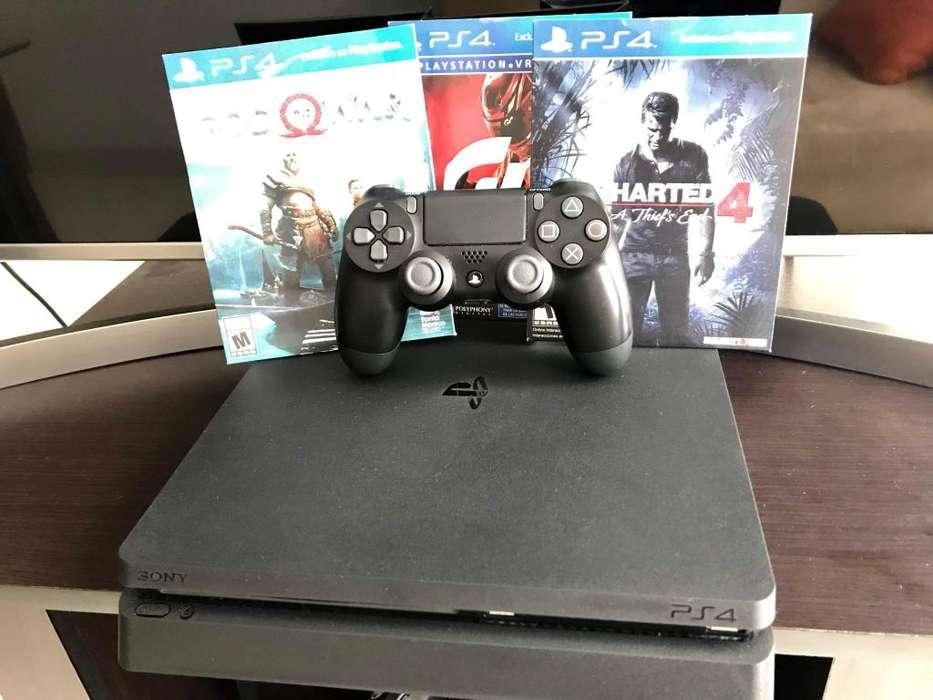 Playstation4 Slim 1TB 3 Juegos 1 Control. Como NUEVA poco Uso