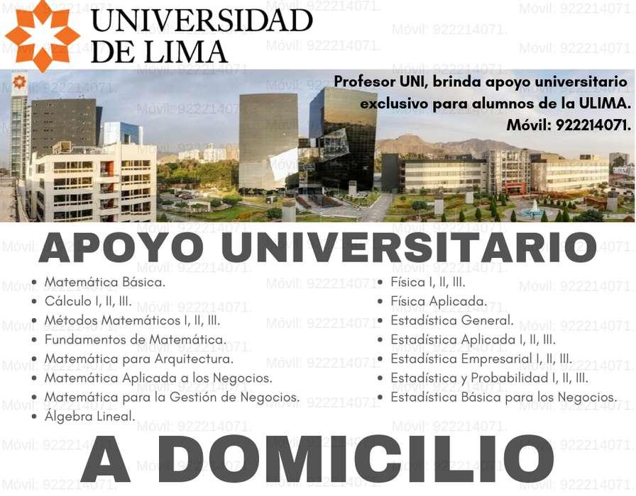 NO ARRIESGUES TUS CALIFICACIONES. APOYO UNIVERSITARIO PARA ALUMNOS DE LA ULIMA. PROFESOR DE MATEMÁTICA Y CIENCIAS.