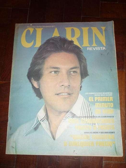 ANTIGUA REVISTA CLARIN 1977 TAPA Y NOTA AL GALAN ARNALDO ANDRE
