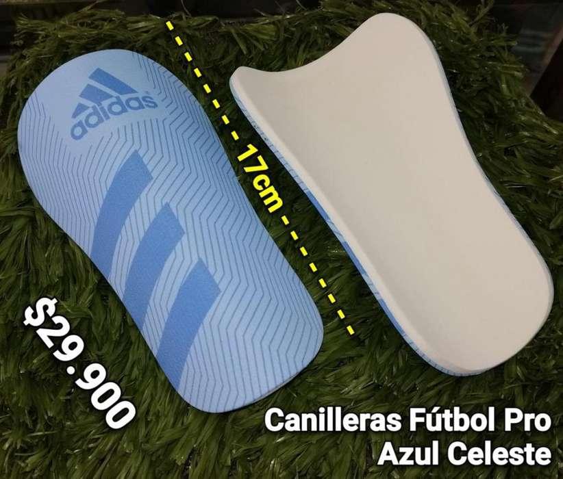 CANILLERAS DE FÚTBOL PRO AZUL CELESTE 17CM