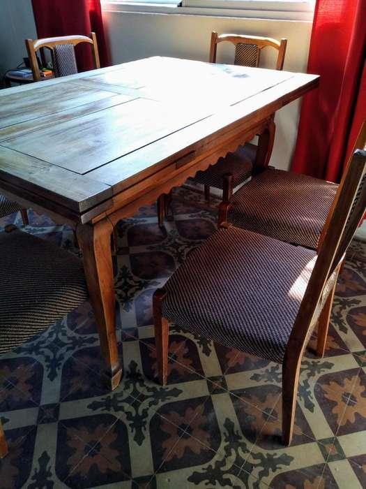 Mesa antigua (extensible) y <strong>silla</strong>s - estilo provenzal