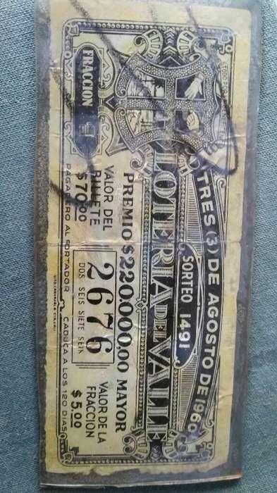 Lotería Del Valle 1960