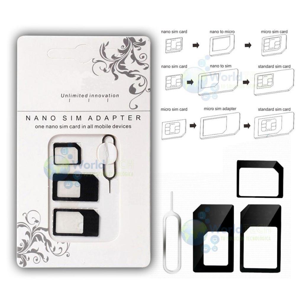 Kit Adaptador Micro Nano Sim Chip Iphone Samsung Sony 3 En 1