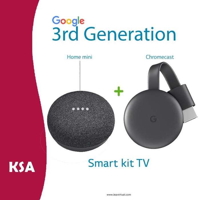 Google Smart TV Kit Home Mini Google Chromecast 3 Gen Kit Domotica