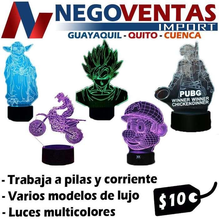 LAMPARA LED 3D DIFERENTES TONOS Y DISEÑOS