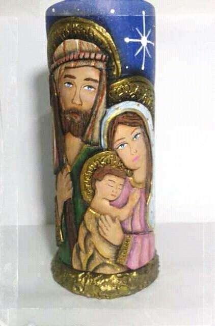 Velas decorativas navideñas, velas talladas, nacimiento