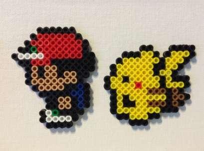 LLaveros Pokemon Ash Pikachu Hama Beads x2
