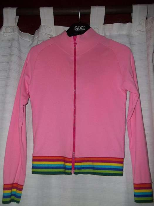 Campera De Algodón Rosa Chicle Con Elastico Multicolor