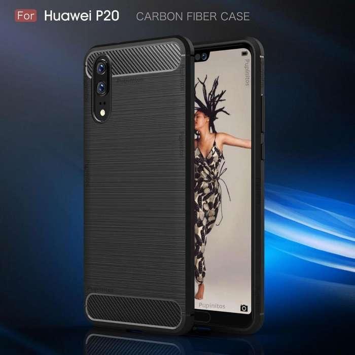 Funda Tpu Cover Fibra De Carbono Huawei P20 Rosario