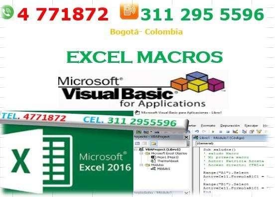 programación de aplicaciones en Excel vba Bogotá, macros Excel visual basic Bogotá,