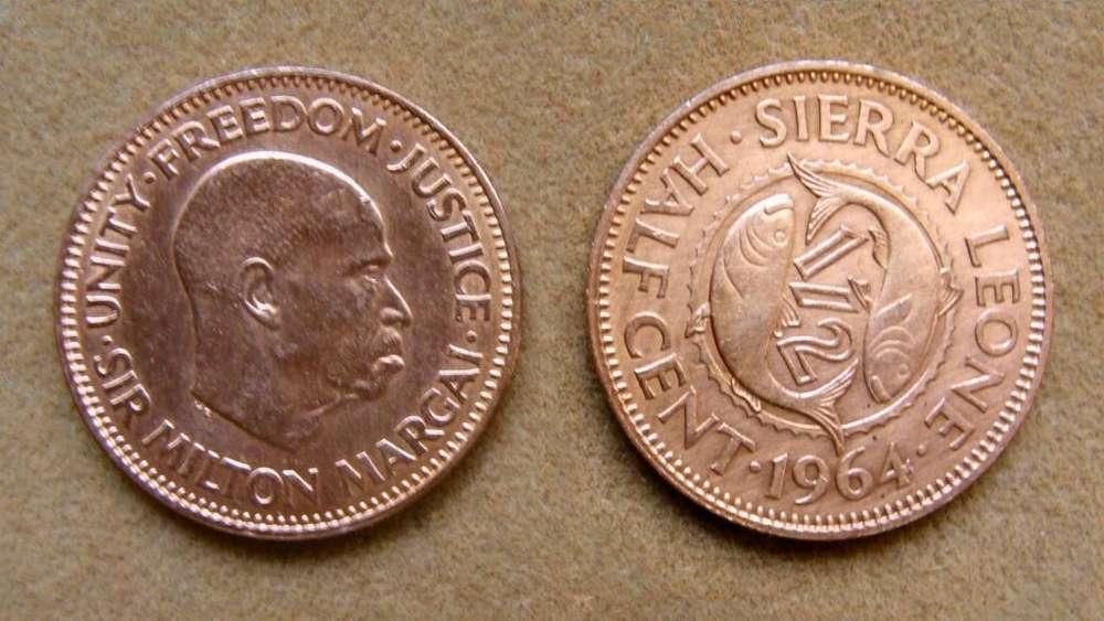 Moneda de 1/2 cent Sierra Leona 1964