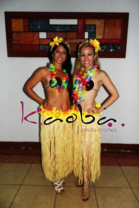 fiesta de carnavales show luaua hawaiano hora loca <strong>bailarina</strong>s acrobatas malabaristas anfitriones