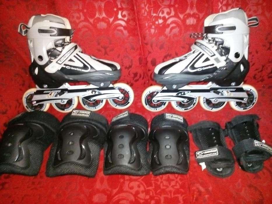 Vendo patines semiprofesionales con kit de protecciones nuevo y comple
