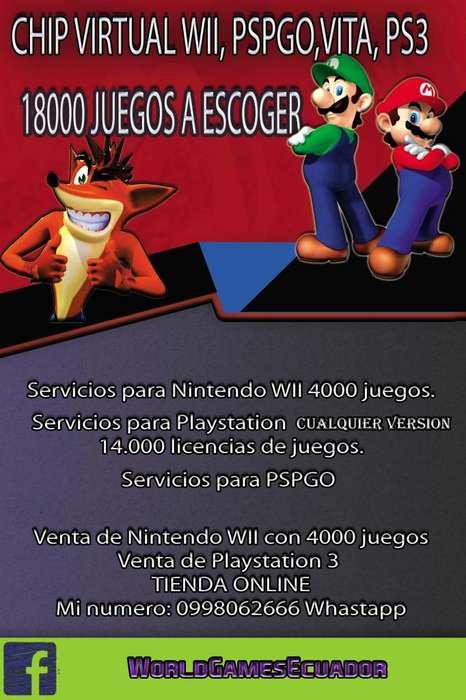 Para tu nintendo Wii Play 3 y Psp go 0998062666
