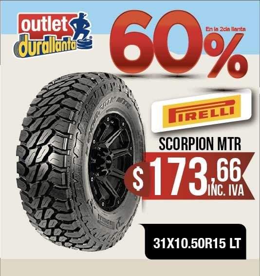<strong>llantas</strong> 31X10.50R15 LT PIRELLI SCORPION MTR