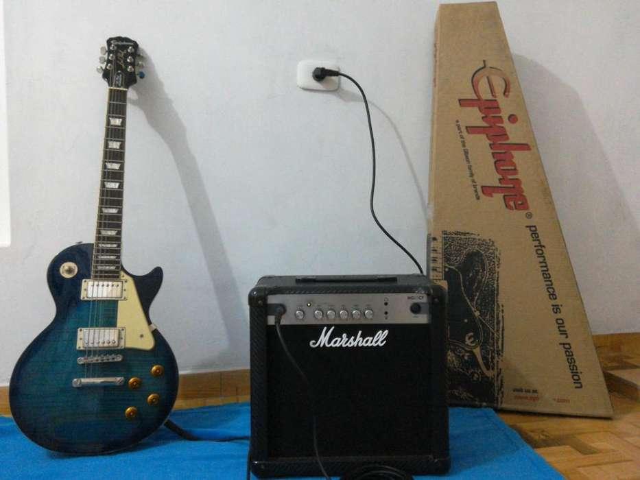 Guitarra EpiPhone Les Paul Standard Pro MÁS Amplificador marshall