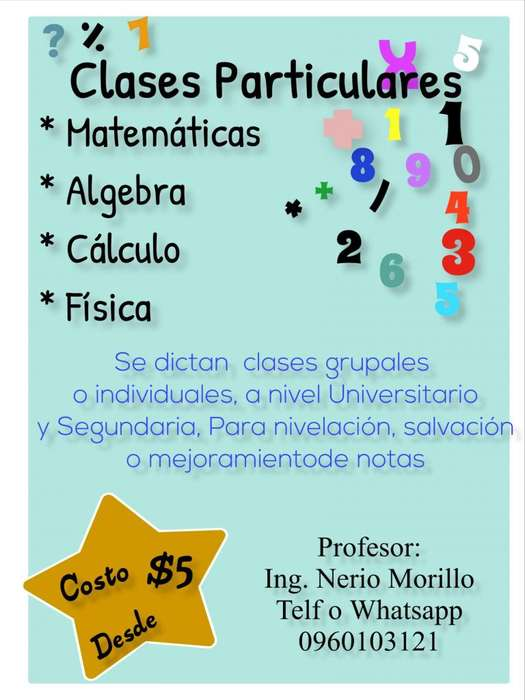 clases de matemáticas particulares y ser bachiller
