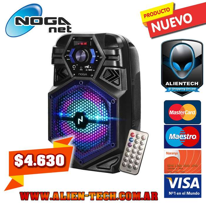 ALIENTECH: PARLANTE PORTABLE NOGANET NG-BT800 1000W PMPO BLUETOOTH RADIO FM USB AUX ENTRADA MICRÓFONO CONTROL REMOTO