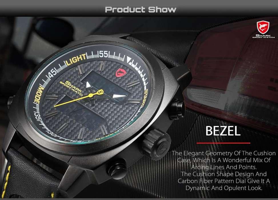 Reloj De Pulsera tiburón de aletas plateadas LCD Fecha Cuarzo Amarillo de Cronómetro Cuero Hombres Sport