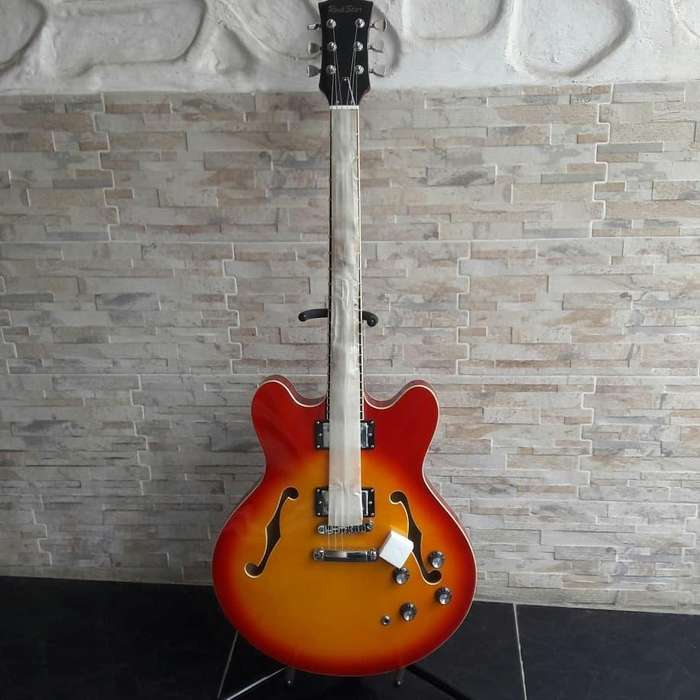 Guitarra Blusera de caja Rock Star
