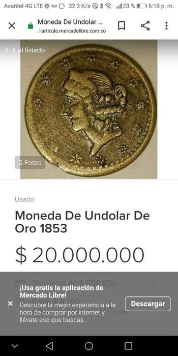 Moneda de Un Dollar en Oro 1853