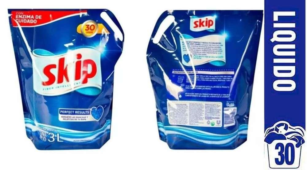 Jabon Liquido Skip 3 Litros Doypack Baja Espuma 30 Lavados