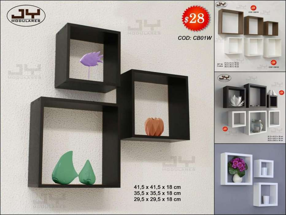 Repisas Cubos de pared, listos de entregar, estante minimalista fácil instalación dif colores JY modulares