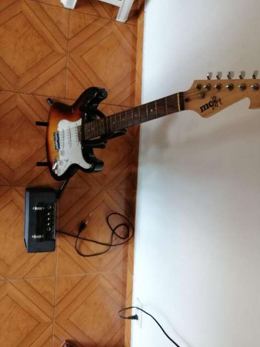 Guitarra Mcart Amplificador Y Base