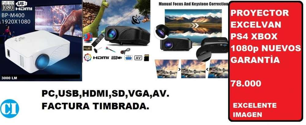 proyector 3000 LM PS4 XBOX 1080p HDMI USB SD AV EXCELENTE IMAGEN