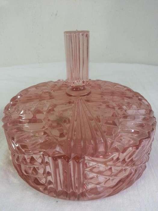 Antigua caramelera cristal facetado rosa