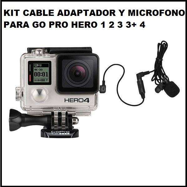 kit cable adaptador y microfono trs gopro hero 1 2 3 3 4