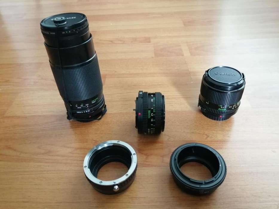 Kit de lentes Canon analogicos con adaptadores mecanicos E <strong>sony</strong>