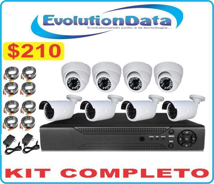Kit Economico 8 Camaras HD 720P Sistema Seguridad Dvr Cctv Hd Vision Nocturna