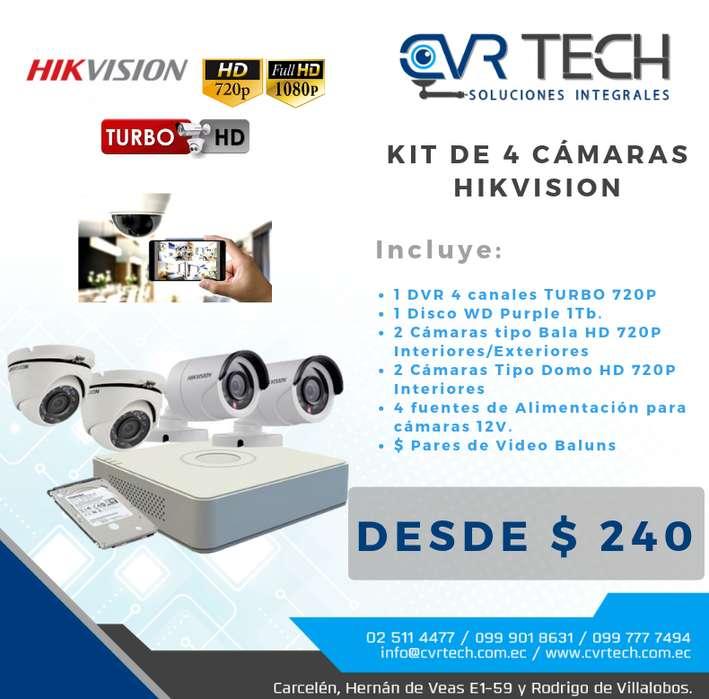KIT DE 4 CAMARAS HIKVISION DISCO DURO